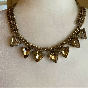 Faceted Gems Triangle Statement Necklace Gold